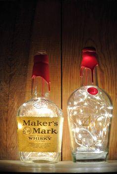 Makers Mark 46 Lighted Bottle | Fairy Lights in Bottle | Looking Sharp Cactus – Looking Sharp Cactus LLC Alcohol Bottles, Liquor Bottles, Liquor Bottle Lights, Glass Bottles, Bottle Fairy Lights, Man Cave Lighting, Bottle Candles, Bottle Lamps, Bottle Garden