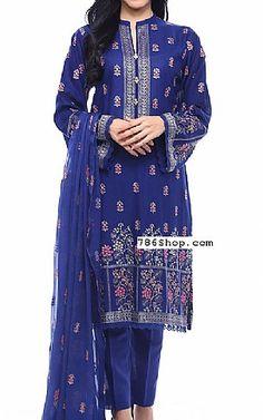 Blue Karandi Lawn Suit | Buy Bareeze Pakistani Dresses and Clothing online in USA, UK