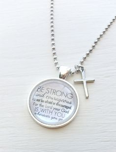 Be Strong and courageous - Joshua 1:9 Bible Verse Pendant - Pendant Necklace - Quote Inspiration Jewelry - Quote Necklace malieprints on etsy