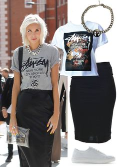 Create your own street style Stussy look at Miss Timaru. Crop top, high waisted skirt, sneakers and bling