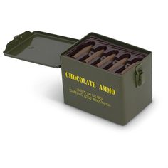Chocolate Ammo, .50 Caliber Bullets with Reusable Ammo Can