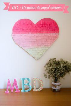 DiY corazon de papel crespon