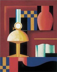 Composition with Paraffine Lamp, Vase and Book - Sandor Bortnyik