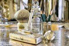 Vintage Colgate shave soap stick and Gillette Pocket safety razor, Simpson Chubby badger brush, Penhaligon's Juniper Sling cologne, January 15, 2015