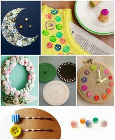 Monday MoodBoard : Buttons #button #craft #jewelry #earrings #hairpin# wreath #homedecor