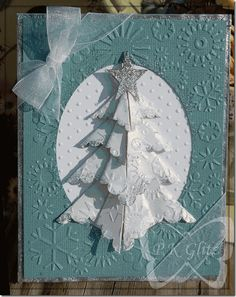 Gorgeous Embossed Christmas Tree Card...with folded dimensional tree.