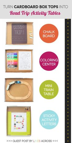 CArdboard box top road trip activity tables for kids! Kids Travel Activities, Road Trip Activities, Road Trip Games, Toddler Activities, Road Trips, Fun Car Games, Car Games For Kids, Diy For Kids, Crafts For Kids
