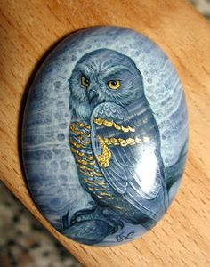 "Painted Stone ""Owl"" grey w/gold Painted Pavers, Painted Rocks Craft, Hand Painted Rocks, Painted Stones, Pebble Painting, Pebble Art, Stone Painting, Painting & Drawing, Stone Crafts"