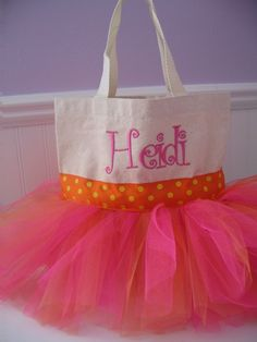 Mini Tutu Tote Bag  Bright colors by gkatdesigns on Etsy, $16.00