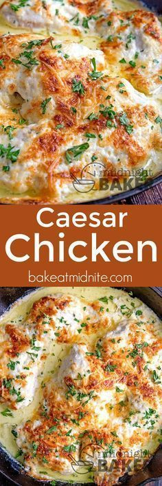 This Caesar chicken is one of the most delicious and easy dinners you'll ever make! This Caesar chicken is one of the most delicious and easy dinners you'll ever make! Turkey Recipes, Chicken Recipes, Dinner Recipes, Baked Chicken, Cocktail Recipes, Appetizer Recipes, Comida India, Cooking Recipes, Healthy Recipes