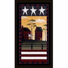 Folk Americana Stars & Stripes Primitive Fence Homes Flag Landscape Red & Blue, Framed Canvas Art by Pied Piper Creative, Brown