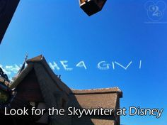 Have you been at Disney World and noticed the skywriter above Walt Disney World?  We saw him on our trip to AK in April 2012 ... it was our first time ... and now we know the back-story!