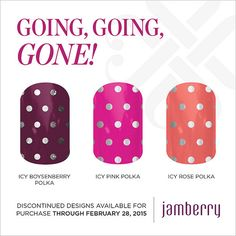 """Discontinued wraps available for purchase through February 28, 2015!! """"Icy Boysenberry Polka"""" :Icy Pink Polka"""" & """"Icy Rose Polka"""""""