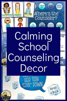 Blue Watercolor Counseling Decor Set ELEMENTARY Blue Watercolor Counseling Decor Set ELEMENTARY,Emotional Regulation Calming blue watercolor decor for your school counseling or social work office counseling social work emotional learning skills character