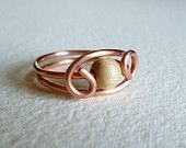 Copper Wire Ring with one light wooden pearl