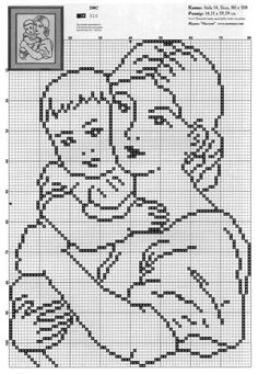 Lovely graph of mother and child use as cross stitch or filet crochet Beaded Cross Stitch, Cross Stitch Baby, Cross Stitch Flowers, Cross Stitch Charts, Cross Stitch Embroidery, Embroidery Patterns, Hand Embroidery, Funny Cross Stitch Patterns, Cross Stitch Designs