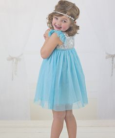 This Just Couture Aqua & Silver Sequin Sparkle Dress - Toddler & Girls by Just Couture is perfect! #zulilyfinds