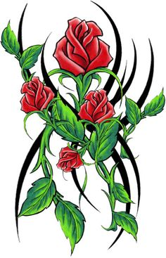 Tribal Red Roses Tattoo - #temporary #tattoo #tribal #rosos #t4aw #tattoos