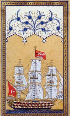 Look at the transition from the ship to the ornamental motif at the top suggesting clouds in a sky. Cultural Artifact, India Painting, Arabic Calligraphy Art, Ottoman Empire, Tile Art, Illuminated Manuscript, Islamic Art, Archaeology, Art Projects