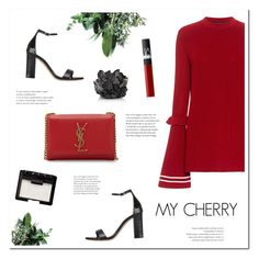 MY CHERRY by uniqueimperfection on Polyvore featuring Mother of Pearl, Kurt Geiger, Yves Saint Laurent, NARS Cosmetics, McCoy Design, black, red and uniqueimperfection