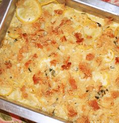 Parmesan-Cheddar Squash Casserole...a great way to use yellow squash this summer!