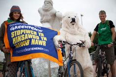 The 'Ice Ride' event in Cardiff is part of a Global Day of Action in a collective protest against Arctic oil drilling and aims to draw the world's attention to the threats facing the Arctic. Photographer: Greenpeace
