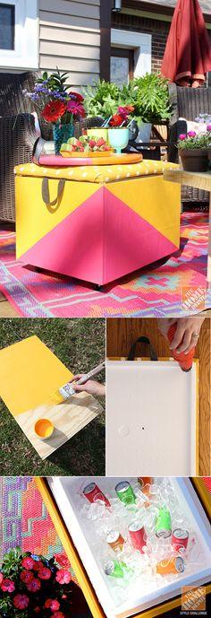 DIY Rolling Cooler Ottoman | DIY Backyard Furniture Tutorials by DIY Ready at  diyready.com/diy-projects-backyard-furniture/