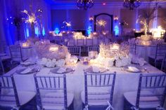 White and silver wedding (Don't like the centerpieces, but lighting is great)