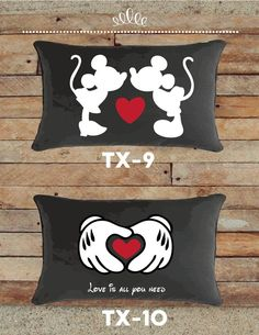 Mickey and Minnie Valentines Pillows Disney Valentines, Valentine Day Gifts, Felt Crafts, Diy And Crafts, Mickey Minnie Mouse, Disney Crafts, Decorative Pillows, Sewing Projects, Applique