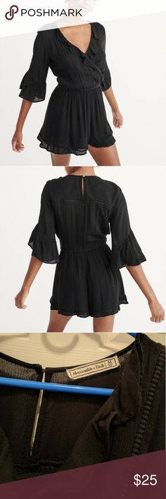 Abercrombie and Fitch ruffle romper Super cute on. Sorry my pics are a little dark. Let me know if you need some better pictures.   Worn once. Got a lot of compliments. Very cute and comfortable Abercrombie & Fitch Other