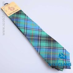 Pure wool tie in MacInnes Hunting Ancient tartan - available from Scotclans