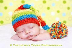 Rainbow Pom Elf hat.. $19.00, via Etsy.