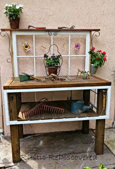 cute potting bench