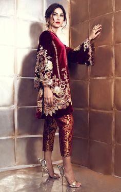 Maroon Velvet Suit with Pakistani Pant – Panache Haute Couture Pakistani Formal Dresses, Pakistani Outfits, Indian Dresses, Indian Outfits, Pakistani Suit With Pants, Pakistani Designer Suits, Pakistani Dress Design, Indian Designer Wear, Kurta Designs