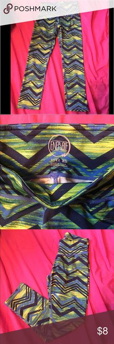 Chevron Capri Leggings XS by Energie Capri Chevron Leggings. Form fitting and stretchy. Vibrant colors of green and yellow and different tones of blue. Beautiful and stylish. I would never let these go but unfortunate they are too small. Looking to sell for a great price to someone who can rock them! ✌️😘💪 Energie Pants Capris