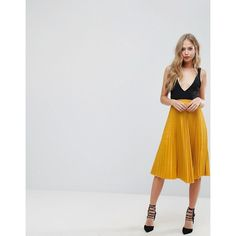 Outrageous Fortune Full Pleated Midi Skirt (€39) ❤ liked on Polyvore featuring skirts, yellow, elastic waist skirt, high waist ruffle skirt, high waisted skirts, pleated skirt and pleated midi skirt