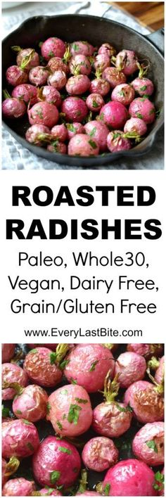 Roasted Radishes make the perfect side dish. They re gluten free, vegan and delicious! Radish Recipes, Vegetable Recipes, Vegetarian Recipes, Cooking Recipes, Healthy Recipes, Veggie Meals, Paleo Food, Clean Recipes, Roasted Radishes