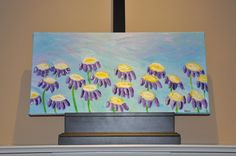 Acrylic Painting on Canvas  June Flowers  24x12 by dlynnart, $60.00