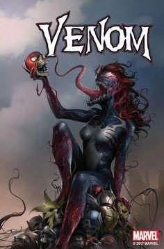 portada alternativa de venom con mary jane Watson como venom