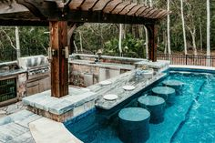 New homeowner or award-winning designer, find what you need here to begin designing indoor and outdoors kitchens with True. Backyard Pool Designs, Small Backyard Pools, Swimming Pools Backyard, Pool Landscaping, Pool Bar, Casas Containers, Swim Up Bar, Design Jardin, Luxury Pools
