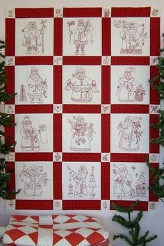 "Here Comes Santa Quilt Pattern - Measures approximately #5"" x 45"" - Stitch a collection of Santas for a Christmas wall hanging or small throw. Cute little motifs are the cornerstone blocks in the sashing. Pattern $36.00"