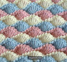 Crochet Textured Shell Stitch Tutorial - (mypicot)                              …