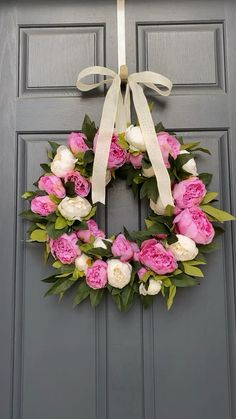 Peony Spring wreath,Gorgeous blooms in white and pink create a gorgeous spring welcome Modern Accessories with Frame Designs By placing your photos inside it, it is simpl. Wreath Crafts, Diy Wreath, Grapevine Wreath, Diy Crafts, Spring Front Door Wreaths, Holiday Wreaths, Mesh Wreaths, Couronne Diy, Faux Flowers