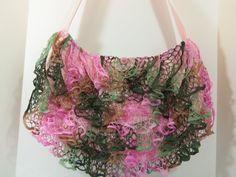 starabella ruffle yarn   Shoulder Bag Ruffled Crochet Starbella yarn Spring by SallySmiles