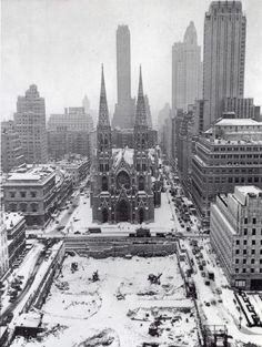 St. Patrick's Cathedral, during the construction of Rockefeller Center, NYC
