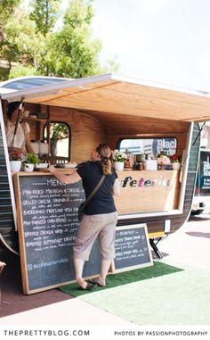 Food Inspiration We Visit Trendy Food Truck Cafeteria Food Trucks, Food Truck Menu, Coffee Carts, Coffee Truck, Coffee Van, Coffee Shop, Foodtrucks Ideas, Catering Van, Coffee Trailer