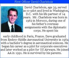 "David M. Charlebois- 39, was the First Officer on American Airlines #flight77. David's niece, Danielle Lamb said, Uncle David was the shining star in our family. Whenever he walked into a room, it always brightened up."" Check out the #project2996 tribute to David at http://kjw-today.blogspot.de/2011/05/david-charlebois-91101.html #9/11"