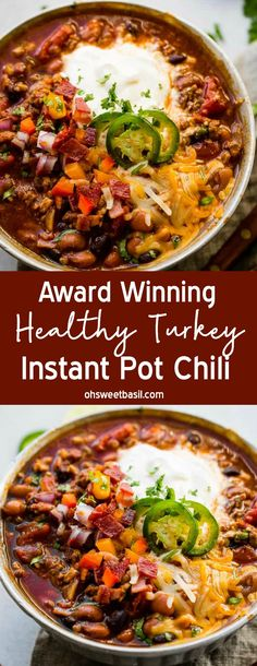 Recipes Snacks Clean Eating Our Award Winning Instant Pot Chili recipe is going viral but we couldn't help but find an award winning healthy Turkey instant pot chili recipe for all of you looking for healthy instant pot recipes! Turkey Chilli, Ground Turkey Chili, Ground Turkey Recipes, Healthy Turkey Chili, Crockpot Turkey Chili, Crockpot Healthy Chili, Healthy Chilli, Clean Turkey Chili Recipe, Award Winning Chicken Chili Recipe