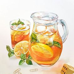 My ice tea pitcher illustration is ready! It was a great oppirtunity to use my favourite #winsorandnewton Orange Red Shade and Green Gold here. Probably not the primary colours in my pallete, but it's such fun to use them! Вот так получилось