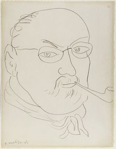"""Henri Matisse self-portrait. 1945. From """"100 Self-Portrait Drawings from 1484 to Today"""""""